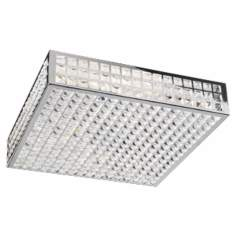 "Deco Crystal and Chrome 20"" Wide Ceiling Light Fixture"