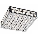 "Deco Crystal and Chrome 12"" Wide Ceiling Light Fixture"