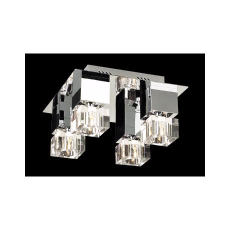 "Charm Chrome and Glass 14"" Wide Ceiling Light Fixture"