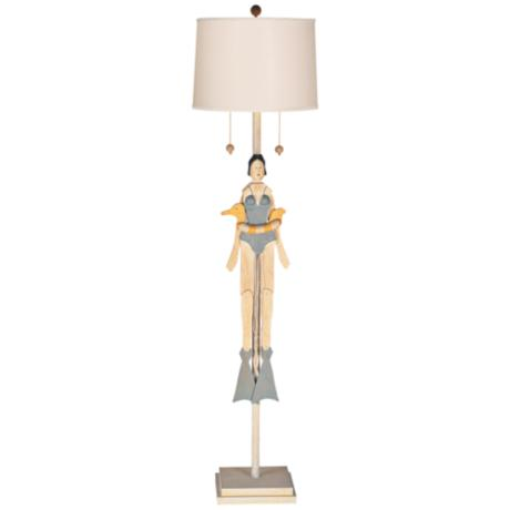 Girl Swimmer Puppet with Striped Shade Floor Lamp