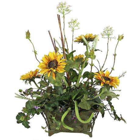 Floral Fruit in Metal Pot Faux Flower Arrangement