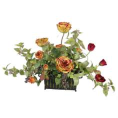 English Rose in Metal Pot Faux Flower Arrangement