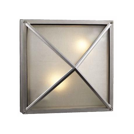 "Deco Square Silver 12 1/2"" Wide Outdoor Wall Light"