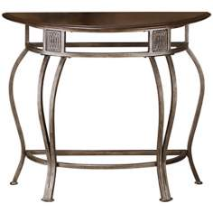 Cello Old Steel Finish Console Table with Wood Top