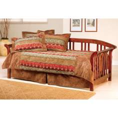 Solid Pine Brown Cherry Finish Sleigh Daybed