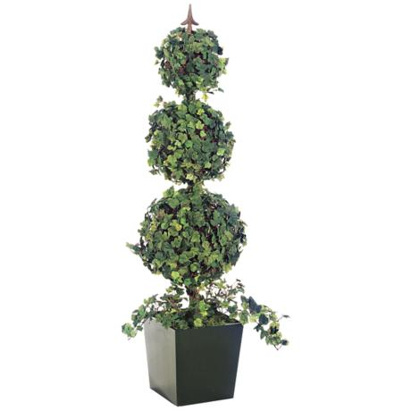 "Faux 53 1/4"" High Triple Ball Grape Ivy Topiary"