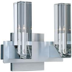 Alpha-V Brushed Aluminum 2-Light Wall Sconce