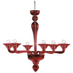 "Asti Collection Red Glass 31 3/4"" Wide Chandelier"