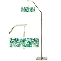 Tropica Giclee Shade Arc Floor Lamp