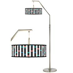Semi-Dots Giclee Shade Arc Floor Lamp