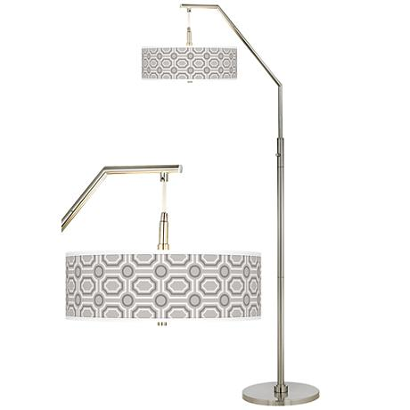 Luxe Tile Giclee Shade Arc Floor Lamp