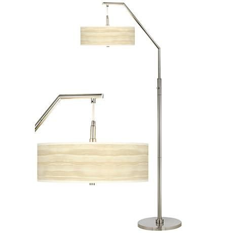 Birch Blonde Giclee Shade Arc Floor Lamp