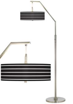 Bold Black Stripe Giclee Shade Arc Floor Lamp