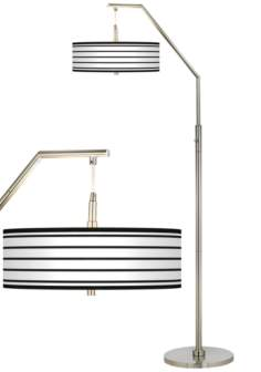 Black Parallels on White Giclee Shade Arc Floor Lamp