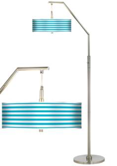 Aqua Horizontal Stripe Giclee Shade Arc Floor Lamp