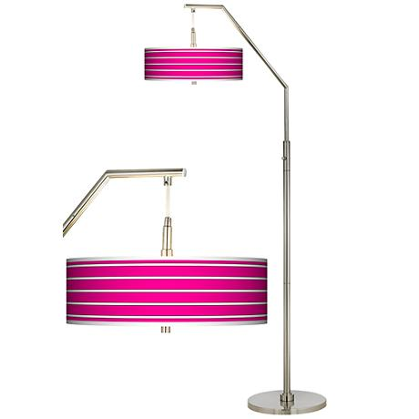 Bold Pink Stripe Giclee Shade Arc Floor Lamp