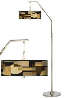 Earthy Geometric Giclee Shade Arc Floor Lamp