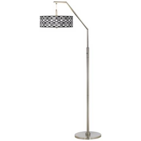 Black and Grey Dotted Squares Giclee Shade Arc Floor Lamp