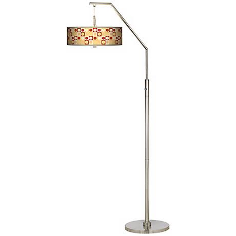 Retro Dotted Squares Giclee Shade Arc Floor Lamp