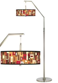 Earth Palette Giclee Shade Arc Floor Lamp