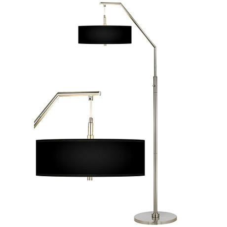 All Black Giclee Shade Arc Floor Lamp