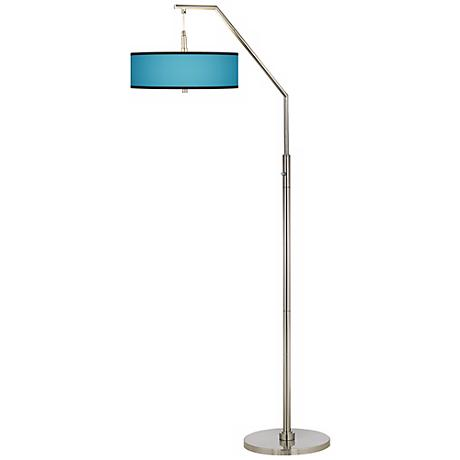 All Aqua Giclee Shade Arc Floor Lamp