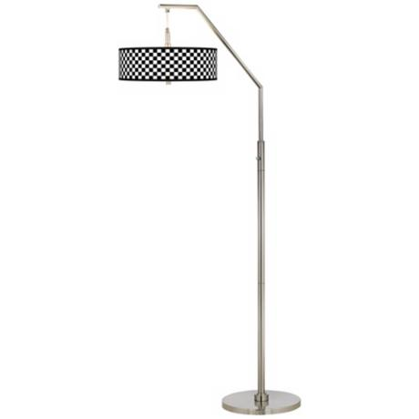 Checkered Black Giclee Shade Arc Floor Lamp