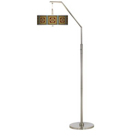 Stacy Garcia Tiber Medallion Garnet Giclee Arc Floor Lamp