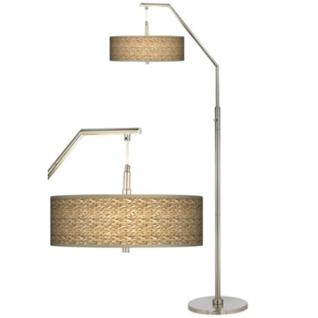 Seagrass Giclee Shade Arc Floor Lamp