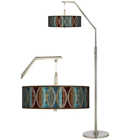 Stacy Garcia Pearl Leaf Peacock Giclee Shade Arc Floor Lamp