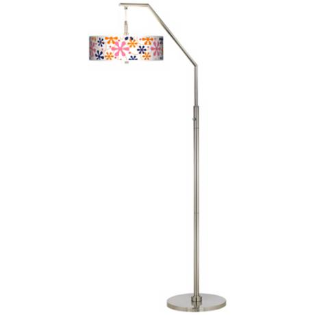 Retro Pink Giclee Shade Arc Floor Lamp