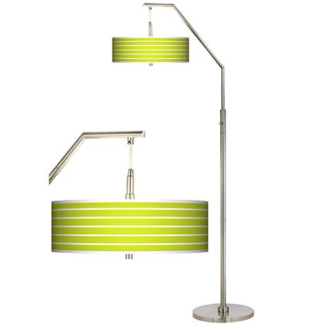 Vivid Green Stripes Giclee Arc Floor Lamp