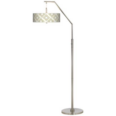 Aster Ivory Giclee Shade Arc Floor Lamp