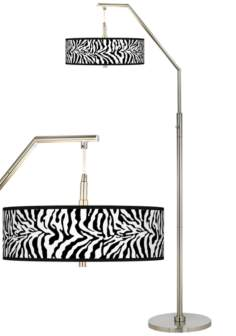 Safari Zebra Giclee Shade Arc Floor Lamp