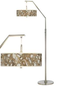 Organic Nest Giclee Brushed Nickel Arc Floor Lamp