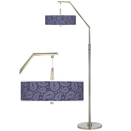 Purple Paisley Linen Giclee Arc Floor Lamp
