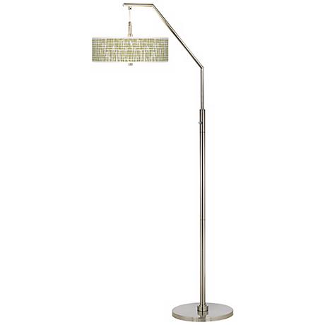 Ecru Screen Giclee Shade Arc Floor Lamp