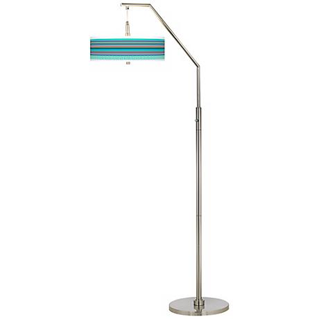 Key West Party Time Giclee Shade Arc Floor Lamp