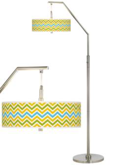 Citrus Zig Zag Giclee Shade Arc Floor Lamp