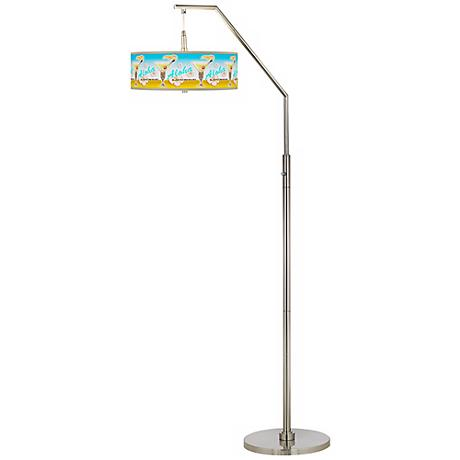 Aloha Lounge Giclee Shade Arc Floor Lamp