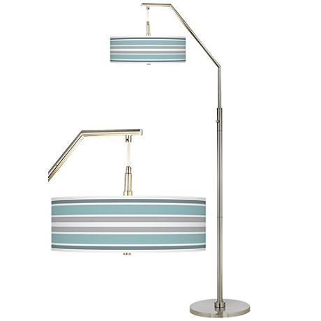 Multi Color Stripes Giclee Shade Arc Floor Lamp