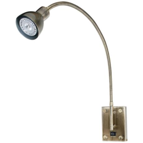 Gooseneck Wall Mount Lamp : Antique Brass Gooseneck Plug-In Swing Arm LED Wall Light - #H5442 LampsPlus.com