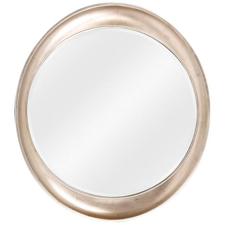 "Elliptical Burnished Silver 39"" High Wall Mirror"