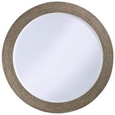 "Silver and Gold Beaded 42"" Wide Round Wall Mirror"