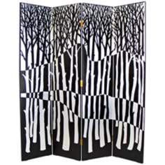 Black and White Carved Trees Modern Room Divider Screen