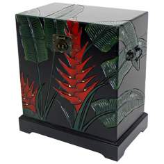 Tropical Heliconia Flower Carved Storage Trunk