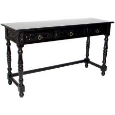 Three Drawer Traditional Sofa Table in Dark Brown Finish