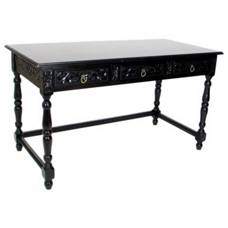 Three Drawer Traditional Console Table in Dark Brown Finish