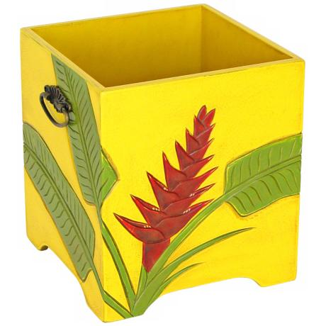 Tropical Heliconia Flower Carved Storage Tub