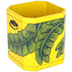 Tropical Fronds Carved Storage Tub